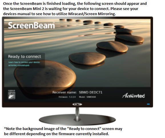 How do I connect the ScreenBeam Mini 2 to my HDTV